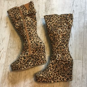 Leopard Wedge Boots {like new}